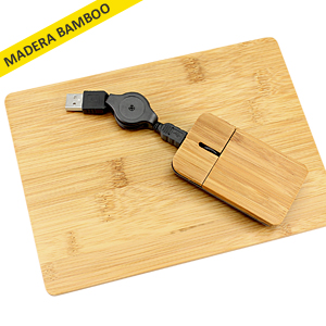 Set Mouse + Pad de Bamboo